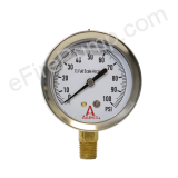 "Calibrated 2-1/2"" 0-100 PSI Allenco Liquid Filled Gauge"