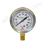 "Calibrated 2-1/2"" 0-200 PSI Allenco Liquid Filled Gauge"