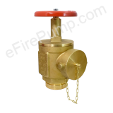 "2-1/2"" Grooved Angle Fire Hose Valve w/ Cap & Chain - UL/FM"