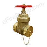 "2-1/2"" Swivel Fire Hose Gate Valve w/ Cap & Chain - UL/FM"